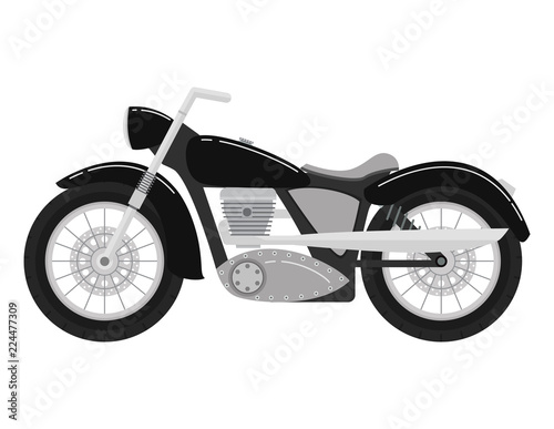 Retro vintage classical motorcycle of black color  Two