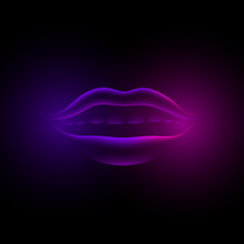 Neon Violet Glowing Female Lips. 3d Fluorescent Virtual Girl Mouth On A Black Background.