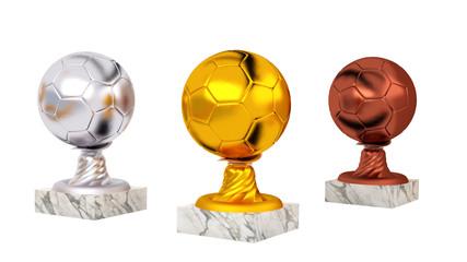 Piłka ręczna złote, srebrne i brązowe trofea z marmuru bazy