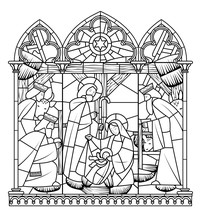 Linear Drawing Of Birth Of Jesus Christ Scene In Gothic Frame