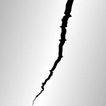 Surface Cracked. Sketch Crack Texture, Division Lands After Earthquakes, Vector Lightning Strike