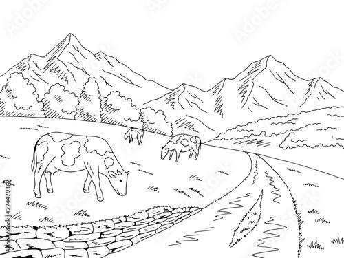 Obraz na płótnie Cows feeding grass in a meadow in the mountains graphic black white sketch illus