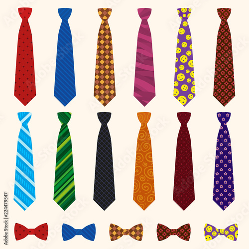 Tableau sur Toile Necktie icon set. Flat set of necktie vector icons for web design