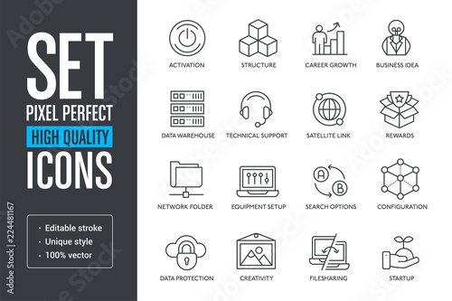 Photo Set vector pixel perfect high quality lines icons