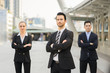 Multiethnic Diverse Business group Posing on arms,Friendly business people with male leader (Boss) in front, They are successful American, African,Asian businessman and businesswoman smiling to camera