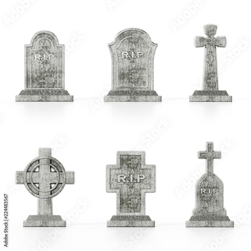 Leinwand Poster Different gravestone models isolated on white background with soft reflections
