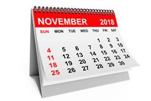 Calendar November 2018. 3d Rendering
