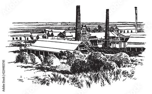 Sugar Mill Near Ponce, vintage illustration. Canvas Print