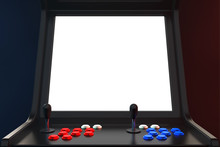 Gaming Arcade Machine With Blank Screen For Your Design. 3d Rendering