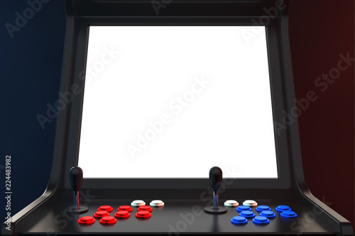 Leinwand Poster Gaming Arcade Machine with Blank Screen for Your Design