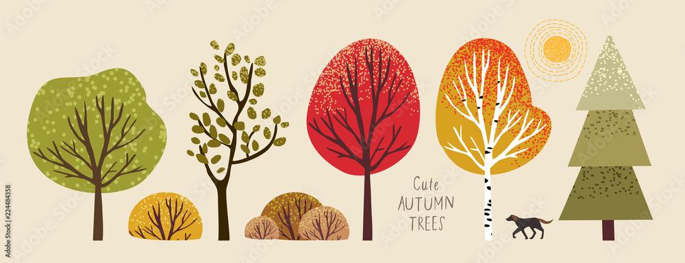 jesienne drzewa, zestaw ilustracji wektorowych uroczych drzew i krzewów: dąb, brzoza, osika, lipa, jodła, słońce i pies