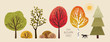 autumn trees, set of vector illustrations of cute trees and shrubs: oak, birch, aspen, linden, fir, sun and dog