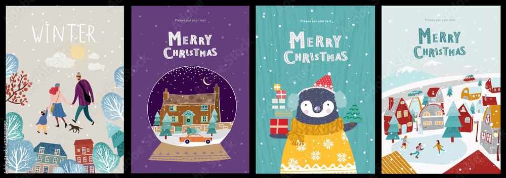 Bożenarodzeniowe śliczne karty lub plakaty, gratulacje na nowym roku lub bożych narodzeniach, wektorowa ilustracja zima przedmioty i elementy