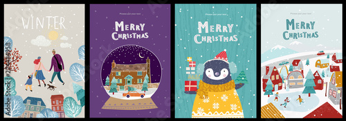 Christmas cute cards or posters, congratulations on a new year or christmas, vector illustration of winter objects and elements
