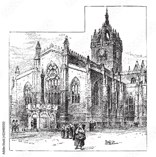 Fotografia, Obraz  St. Giles' Cathedral, Edinburgh vintage illustration.