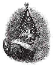 Mr. Punch Is A Puppet From The Popular English Puppet Show Punch And Judy, Vintage Engraving.