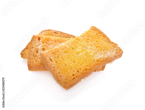 crispy butter bread with sugar on white background