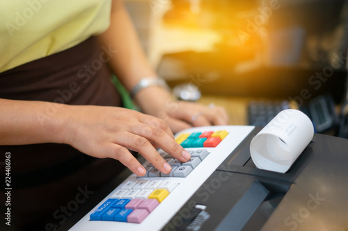 Caucasian Asian Female Woman Cashier Seller Using A Calculator For Accepting Client Customer Payment Small Business Of Coffee Shop Cafeteria Startup Asia Entrepreneur Owner Concept Buy This Stock Photo And Explore