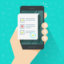 Online Form Survey On Smartphone Vector Illustration, Flat Cartoon Mobile Phone With Quiz Exam Sheet Document Icon, On-line Questionnaire Results, Check List Or Internet Test On Cellphone