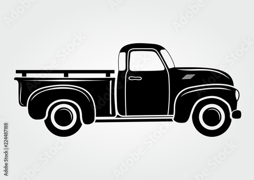 Obraz Vintage pickup, truck. Vector illustration.  Retro transport vehicle - fototapety do salonu