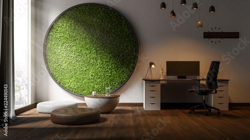 Photo  Modernes Büro mit Graswand