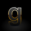 Black carbon fiber letter G lowercase with gold outline isolated on black background