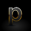 Black carbon fiber letter P lowercase with gold outline isolated on black background