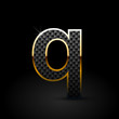 Black carbon fiber letter Q lowercase with gold outline isolated on black background