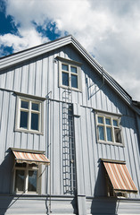 low angle view of beautiful building under cloudy blue sky Lillehammer, Oppland, Norway