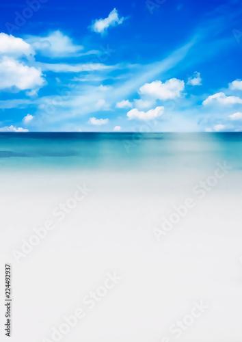青空とビーチ Wallpaper Mural