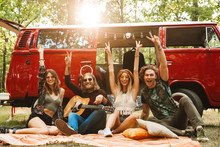 Group Of Friends Hippies Men A...