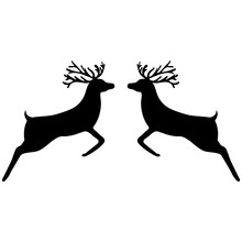 Two Reindeer Leap Towards Each Other