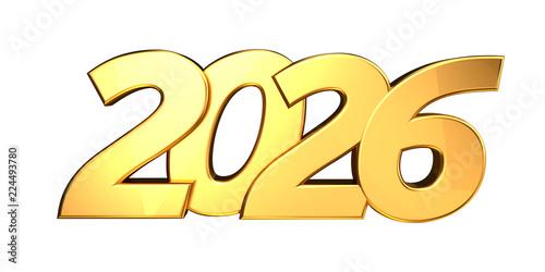 Fotografia  2026 golden bold letters 3d-illustration