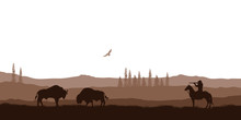 Silhouette Of Desert With Cowb...