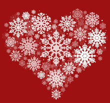 Heart Shape From White Snowflakes Isolated On Red