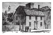 Birthplace Of Nathaniel Hawthorne Vintage Illustration.