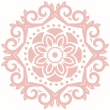 Elegant Ornament In Classic Style. Abstract Traditional Pattern With Oriental Elements. Classic Round Vintage Pink Pattern