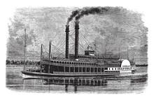 Riverboat, Vintage Illustration.