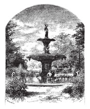 Fountain, Purely Functional,  Vintage Engraving.