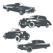 Set Of Classic Retro Cars On White Background