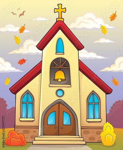 Fotobehang Voor kinderen Church building theme image 3