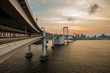 Sunset view of Tokyo Bay from rainbow bridge odaiba side.