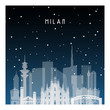 Winter night in Milan. Night city in flat style for banner, poster, illustration, background.