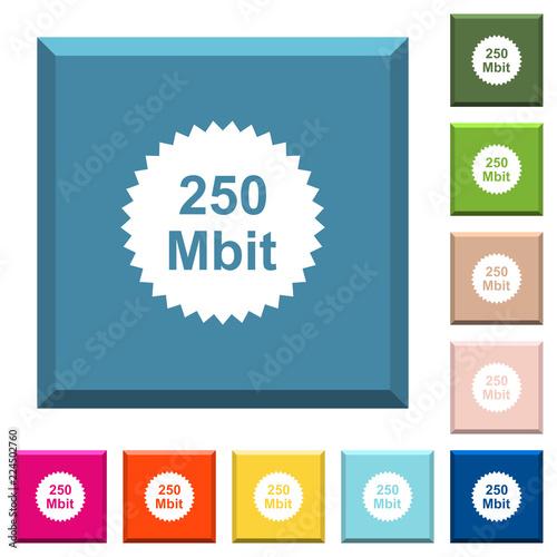 Fotografia  250 mbit guarantee sticker white icons on edged square buttons