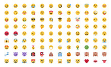 Basic Face Emojis, Emoticons, Emotions Flat Vector Illustration Symbols. Hands, Faces, Feelings, Situations, Shy, Embarrassed, Smile, Mood, Joke, Lol, Laugh, Cry, Happy, Smileys Icons