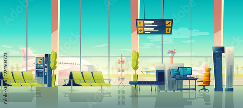 Airport security check vector illustration of terminal with passenger and baggage X-ray scanner checkpoint Wallpaper Mural
