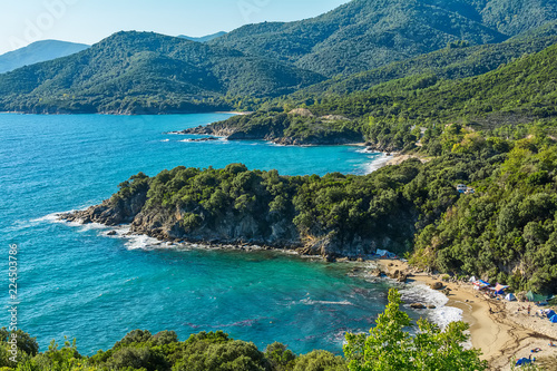 Panoramic view of Aegean sea at Chalkidiki, Greece