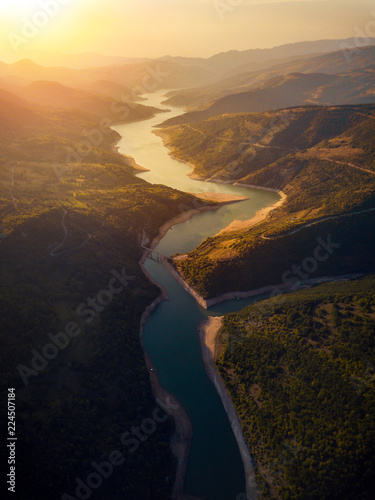 River winding in the mountain aerial view