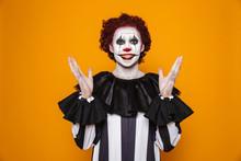 Young Clown Man 20s Wearing Bl...