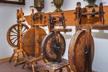 Four Wooden Spinning Wheels St...